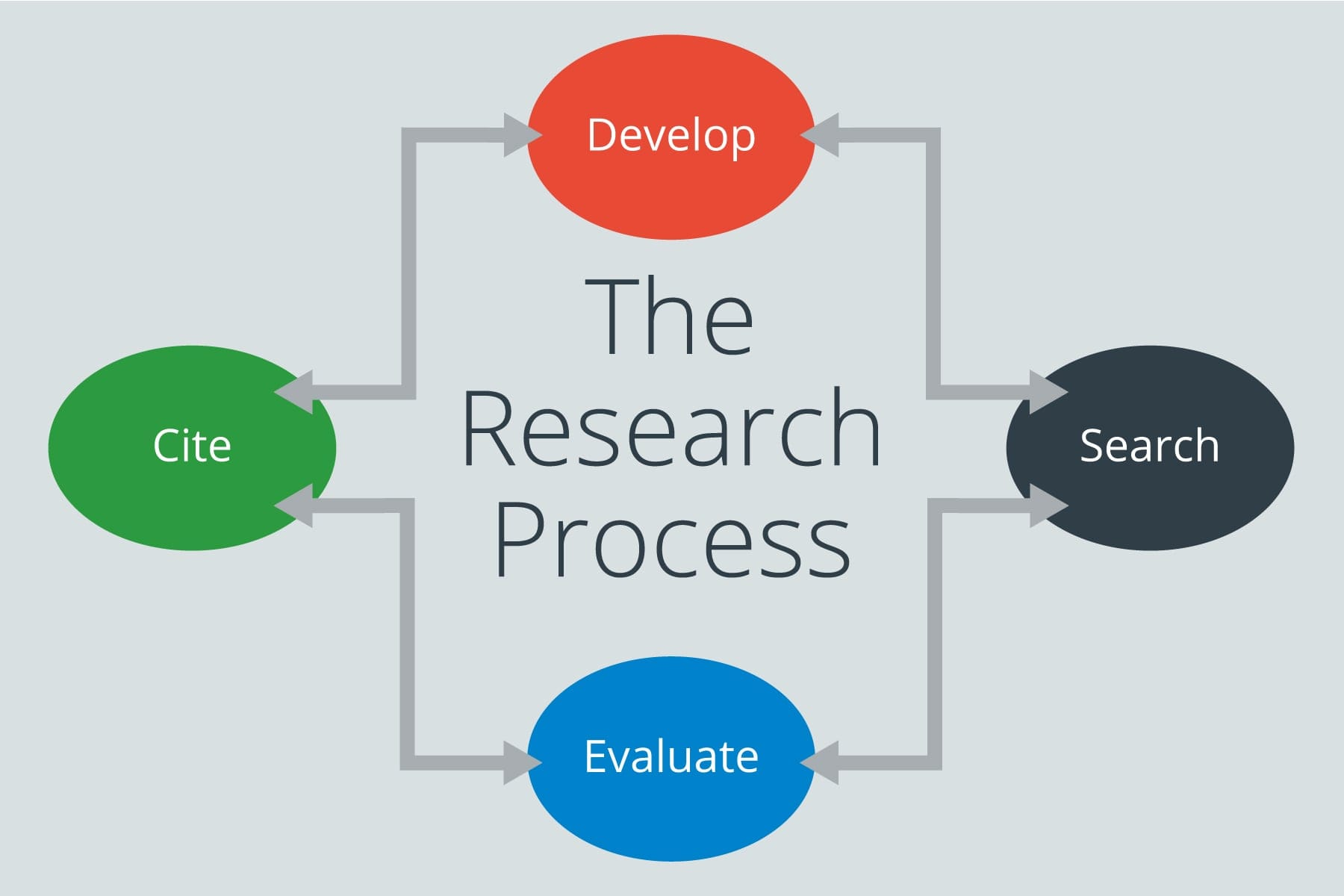 diagram displaying the four parts of the research process: develop, search, evaluate, cite