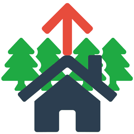 icon with a house, trees and a red arrow pointing up