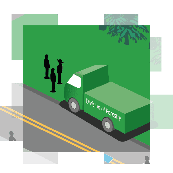 illustration of three Division of Forestry employees talking next to their truck