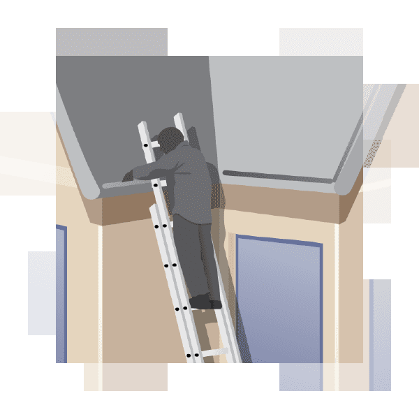 illustration of a man cleaning his gutters