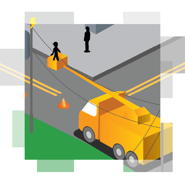 illustration of workers repairing a downed power line
