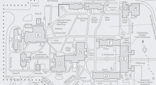 National Fire Academy campus map, directions and memorials
