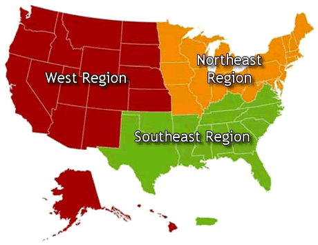 U.S. map showing the Northeast, Southeast and West regions.