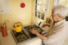 older adult cooking