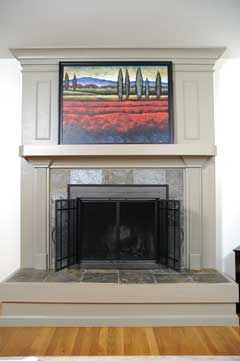 Fireplace screen with glass doors open