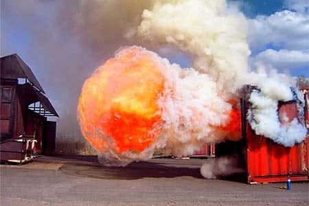 photo of a backdraft explosion