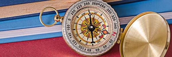 books and a compass