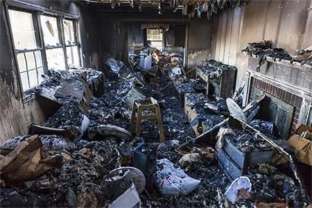 photo of a burned out room