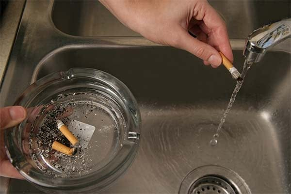soak cigarette ashes in water