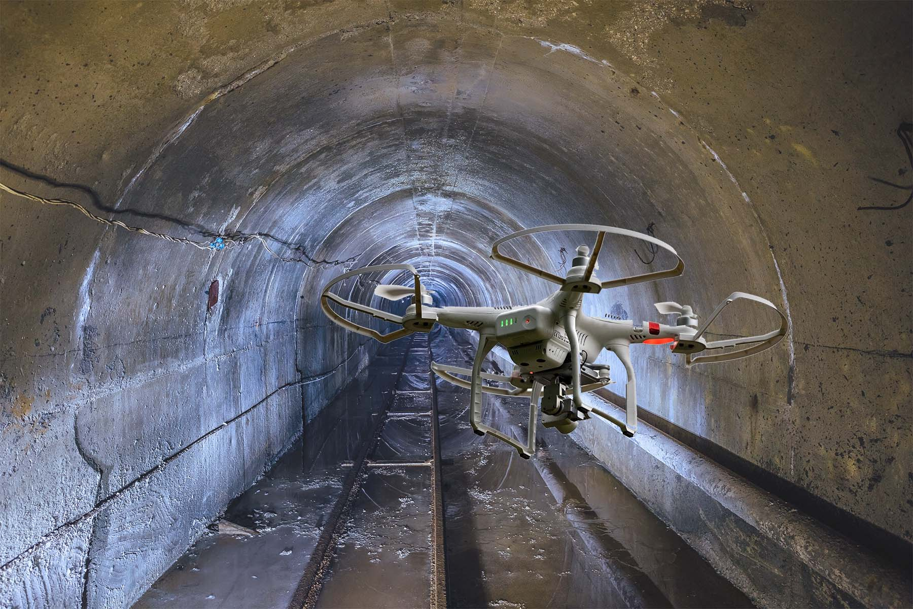 drone in a tunnel