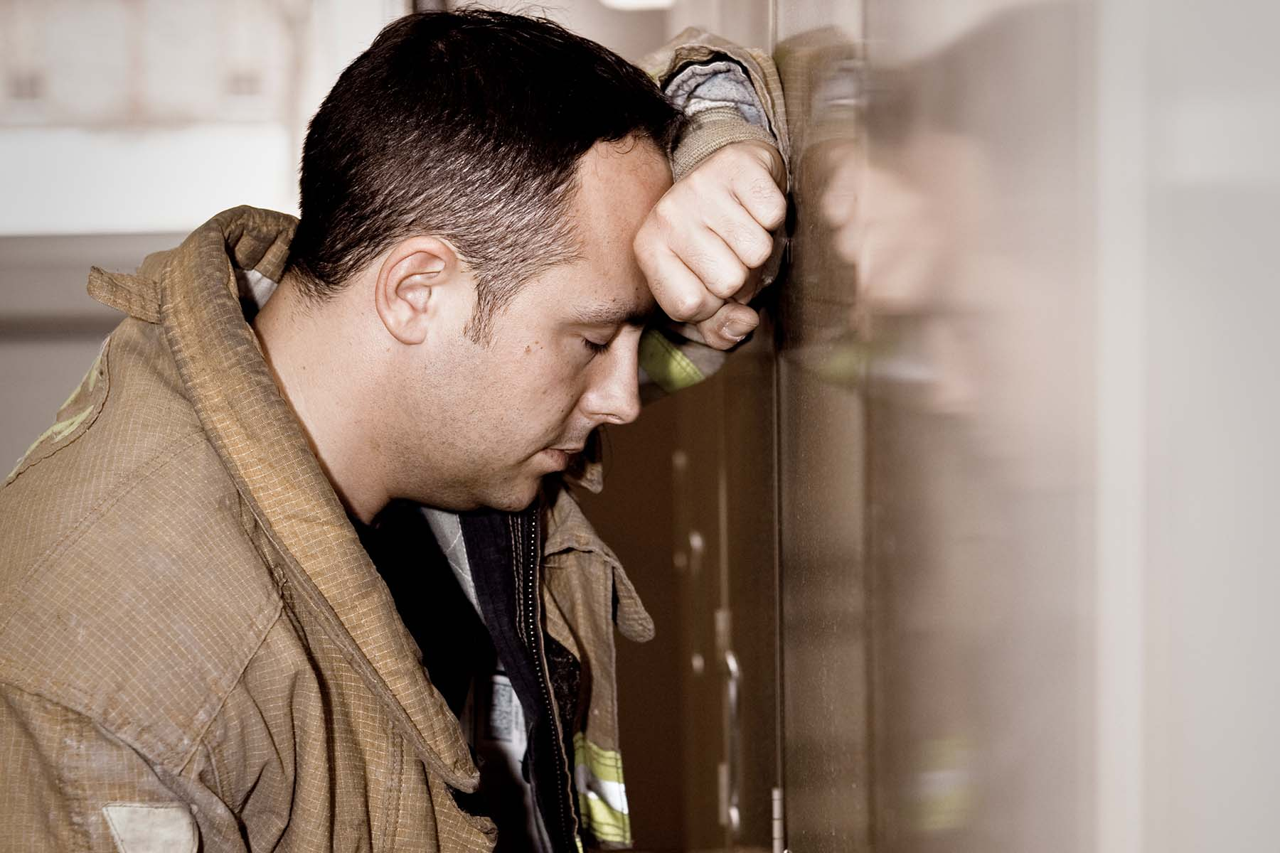 exhausted firefighter