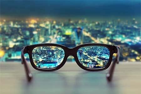 eye glasses showing a clear cityscape