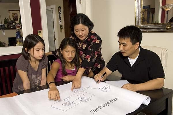 family making a fire escape plan