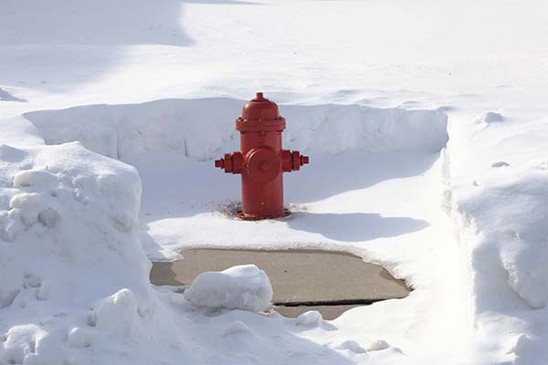 fire hydrant cleared of snow