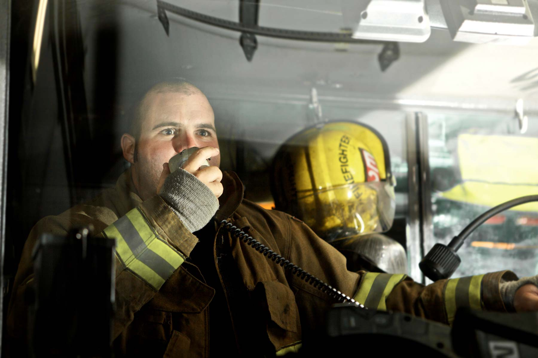 firefighter using radio