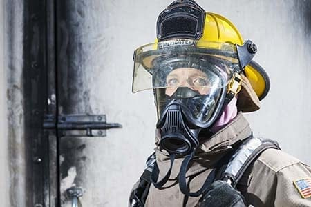 firefighter with mask on