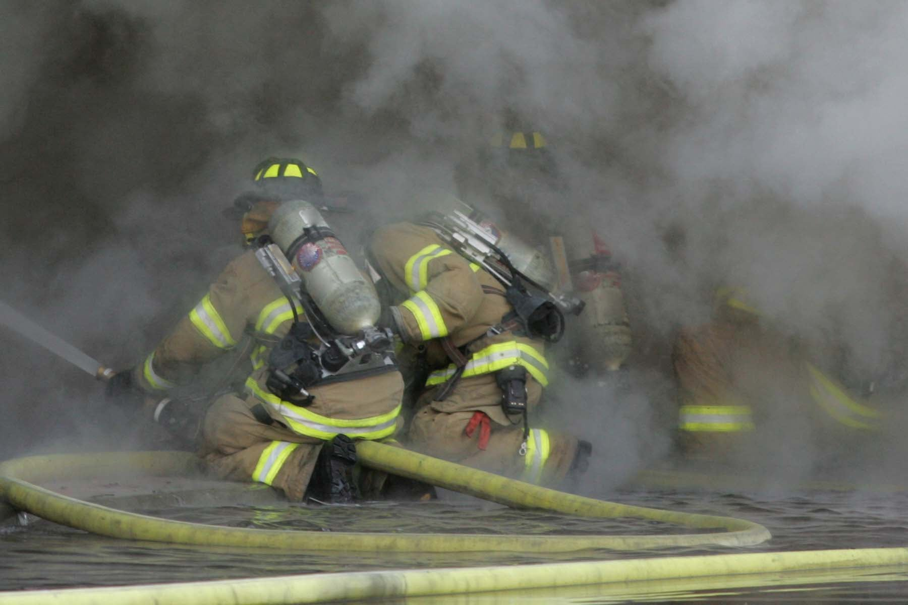firefighters in smoke