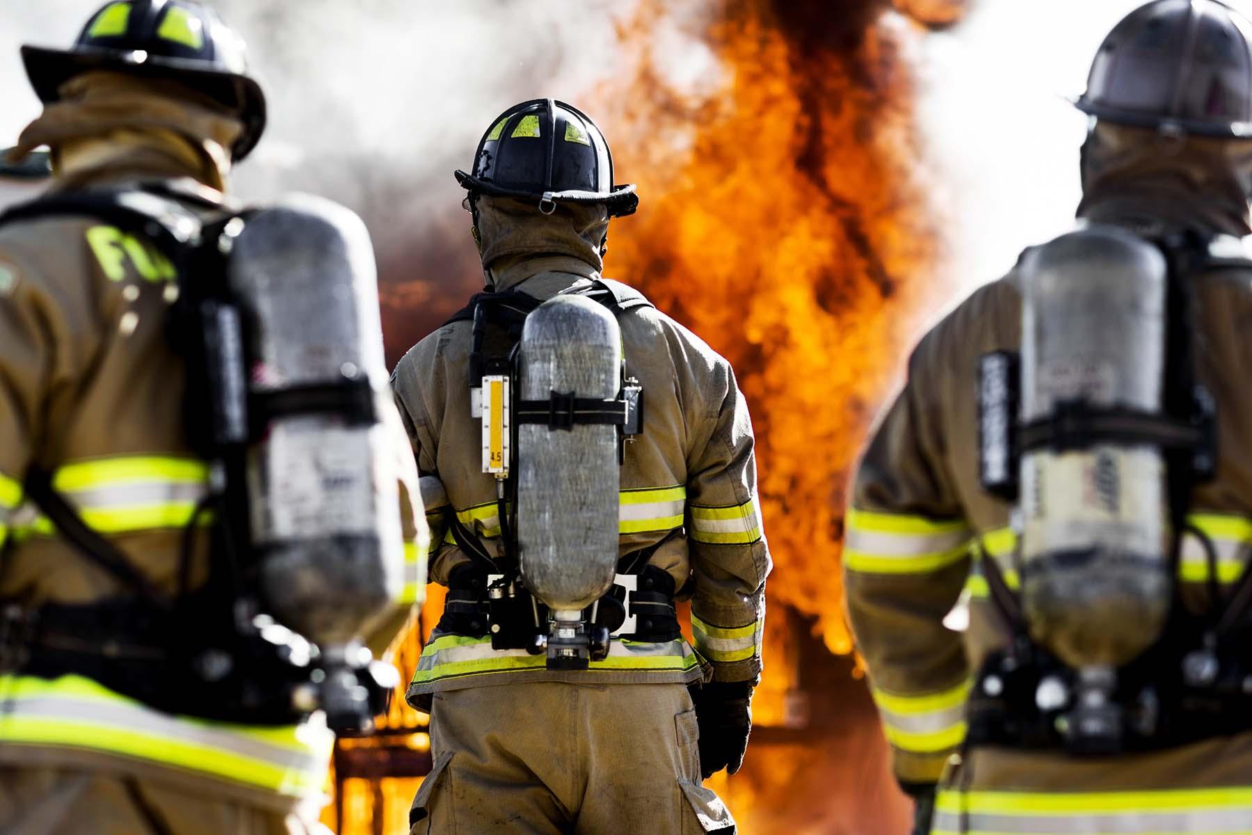 firefighters wearing PPE