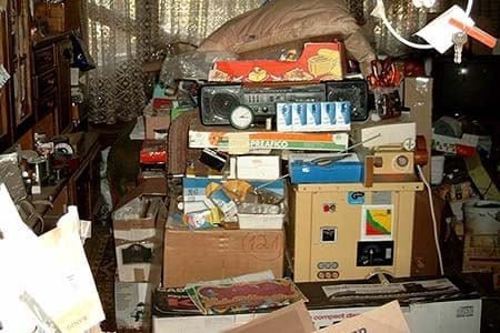 hoarded items in a home