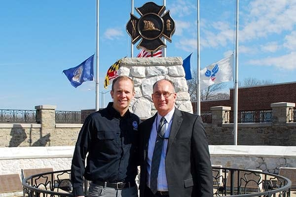 Brock Long and Keith Bryant at the National Fallen Firefighters Memorial