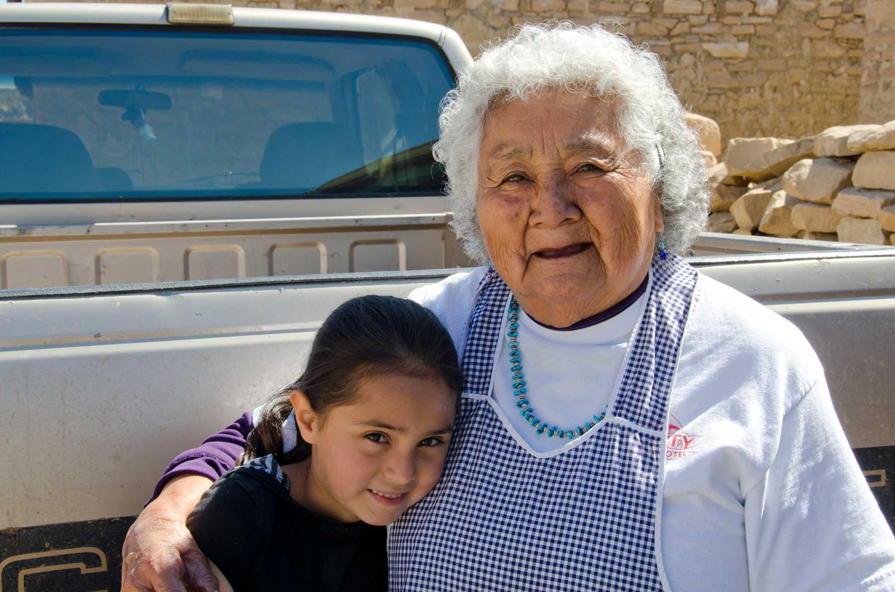 Native American grandmother and granddaughter