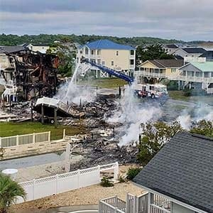 homes destroyed by fire at Ocean Isle Beach