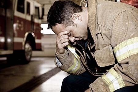 sad firefighter