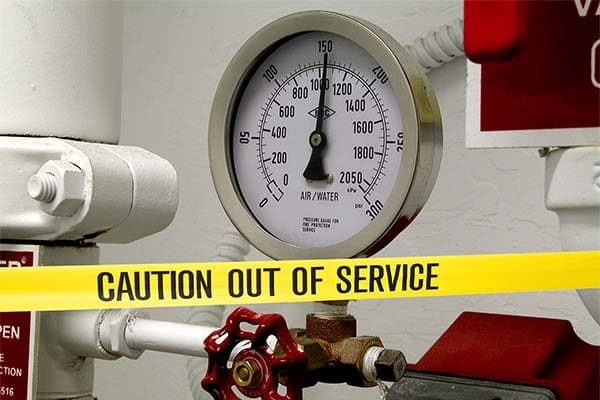 fire sprinkler system out of service