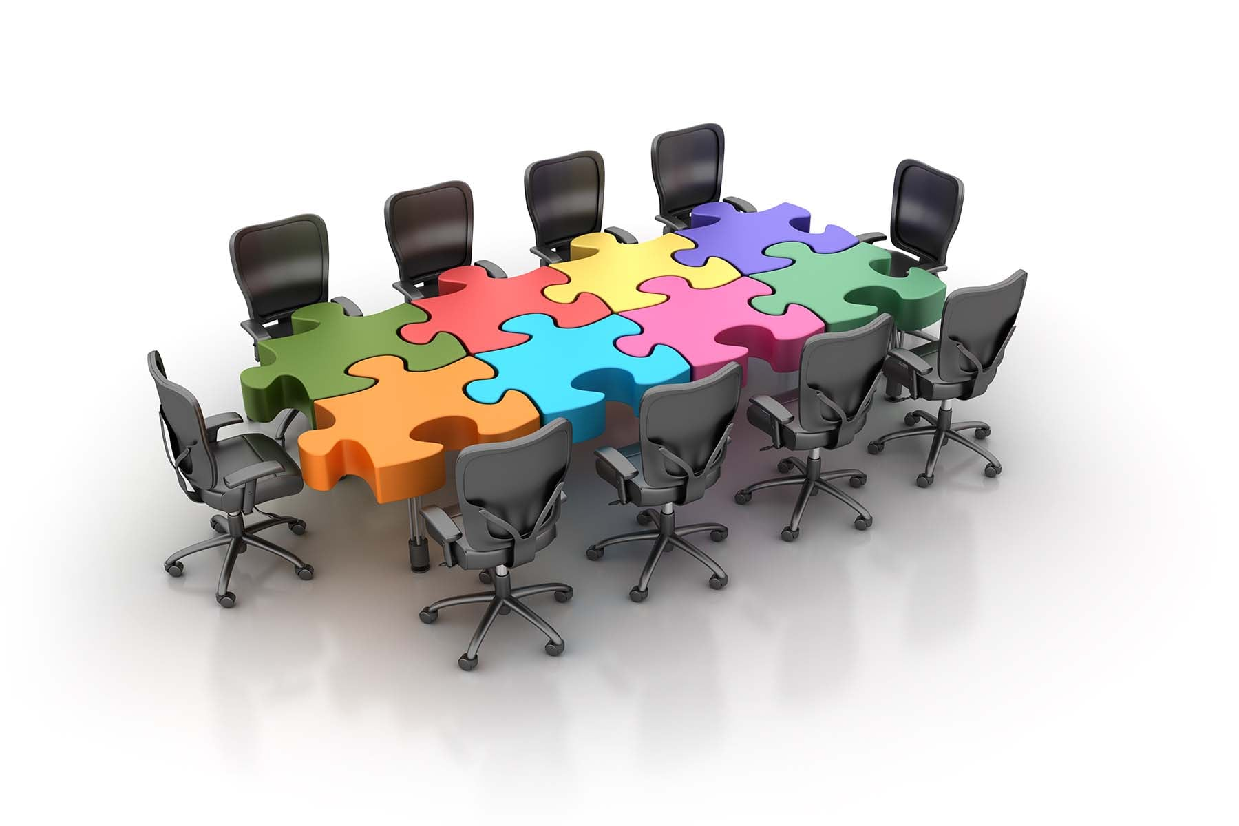 conference table made of puzzle pieces