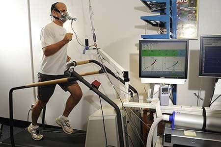 firefighter undergoing vo2 max testing