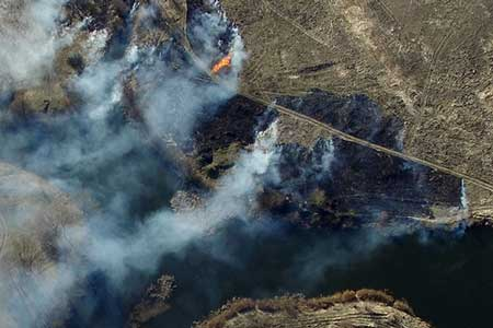 aerial view of a wildfire