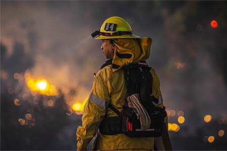 wildland firefighter observing an incident scene