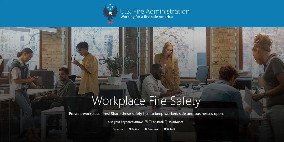 cover for workplace fire safety story showing workers in an office