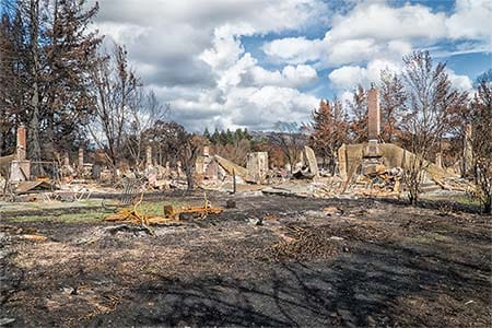 burned homes in Santa Rosa, California