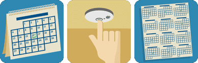 This pictograph tells you to test smoke alarms once a month using the test button.