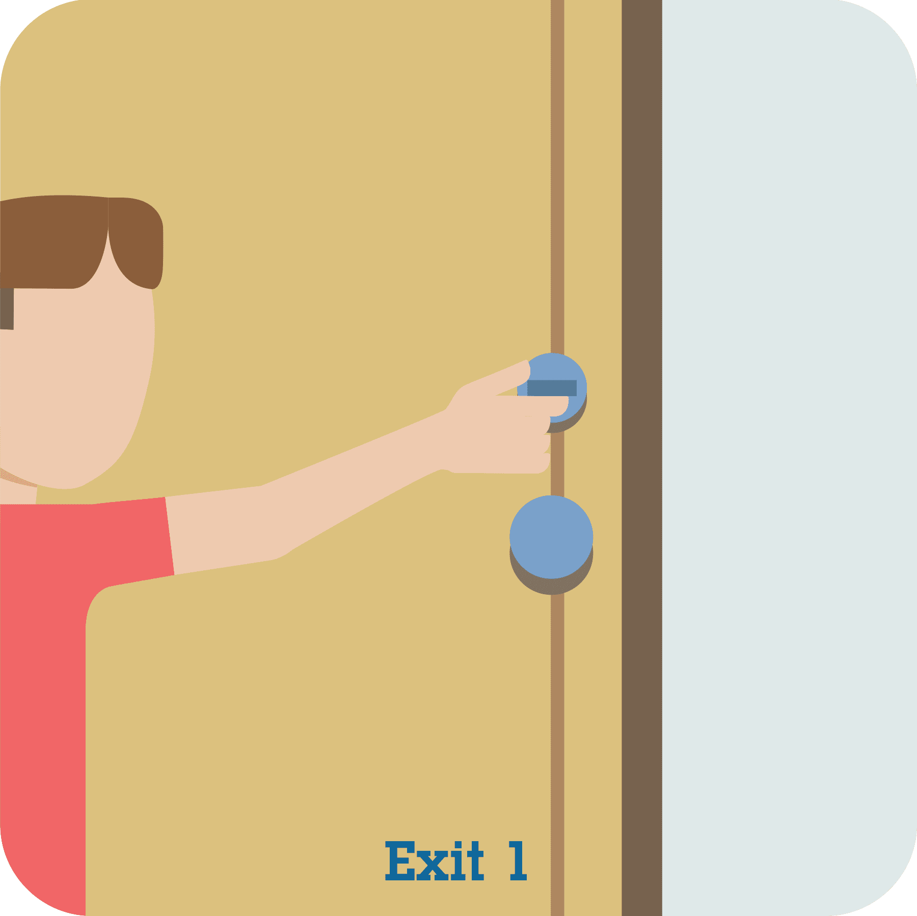 A child unlocking a deadbolt on a door.