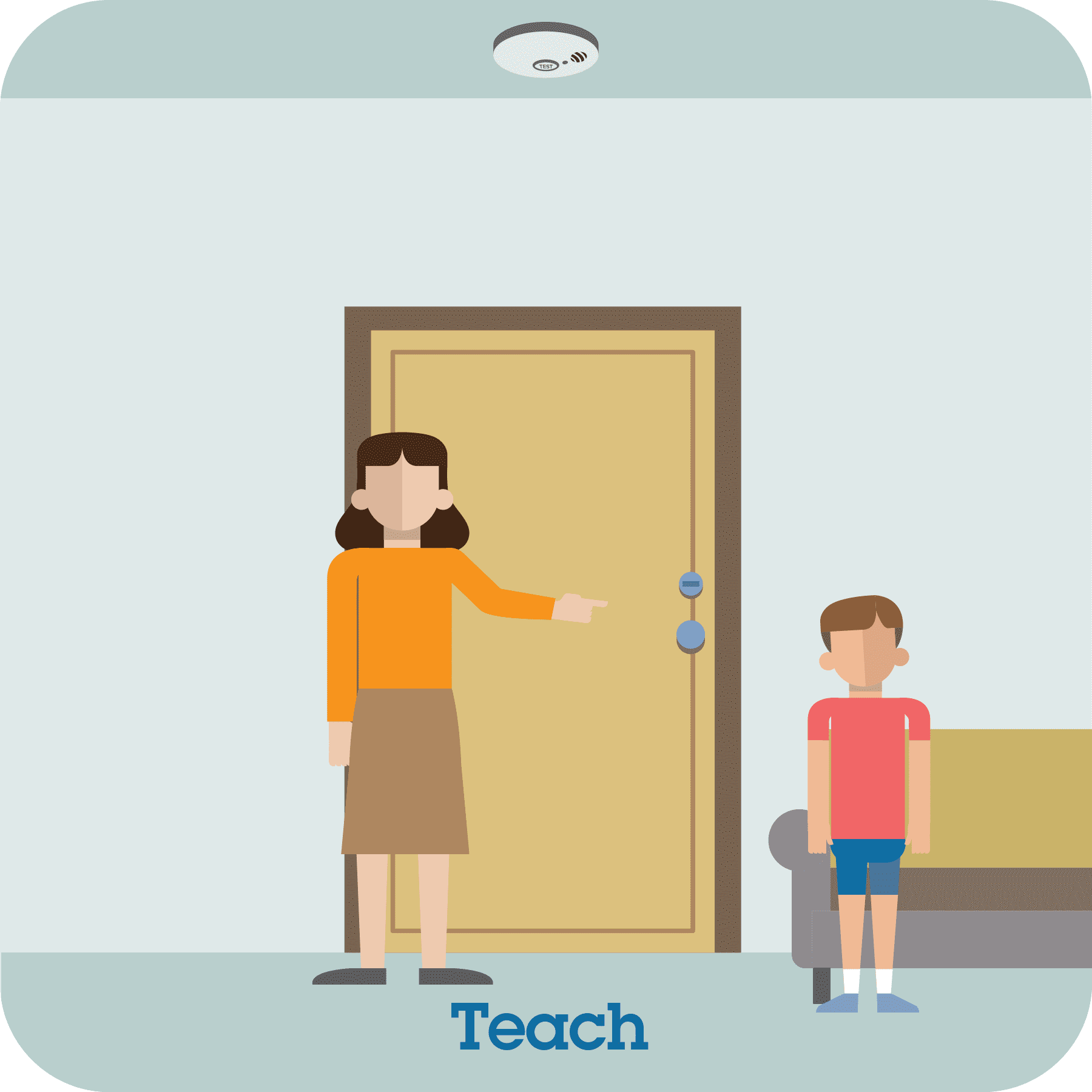 Woman showing boy a locked door. Teach prompt at the bottom of the picture.