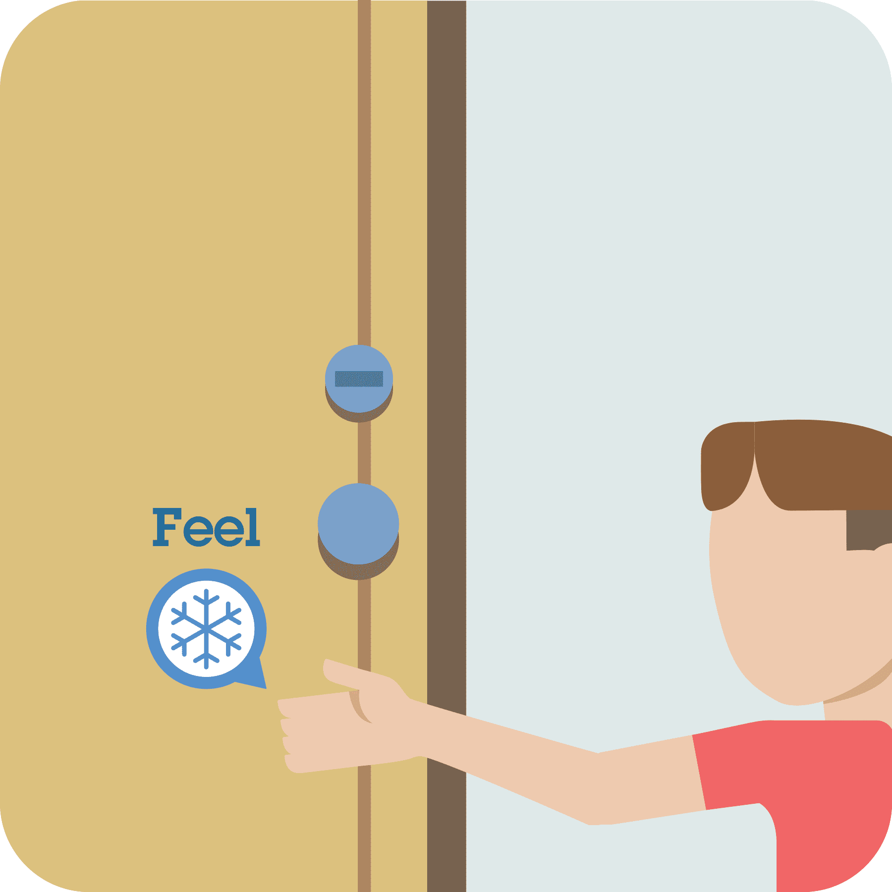Boy feels the door with his hand. Feel prompt with snowflake to show it is cool.