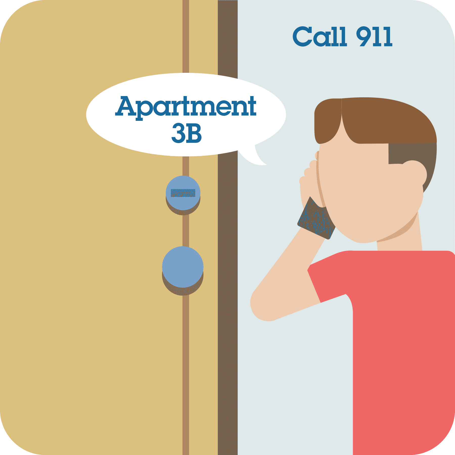 "Boy calling 911 and telling them ""Apartment 3B""."