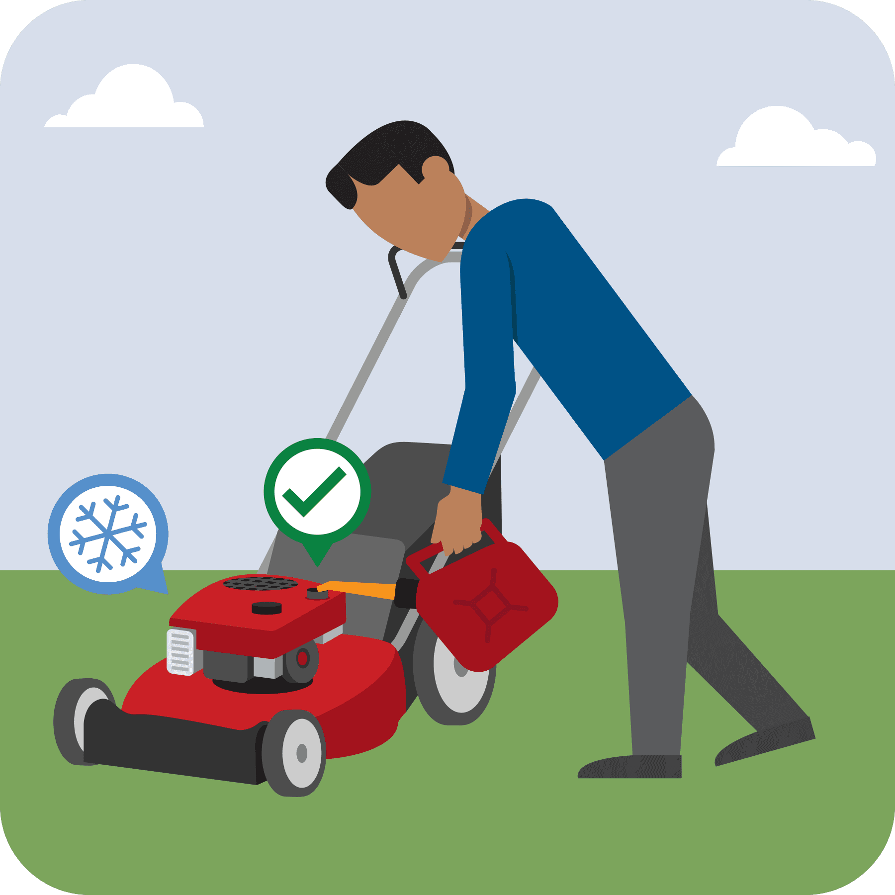 A man is fueling a cool lawnmower. A green checkmark is over the lawnmower.