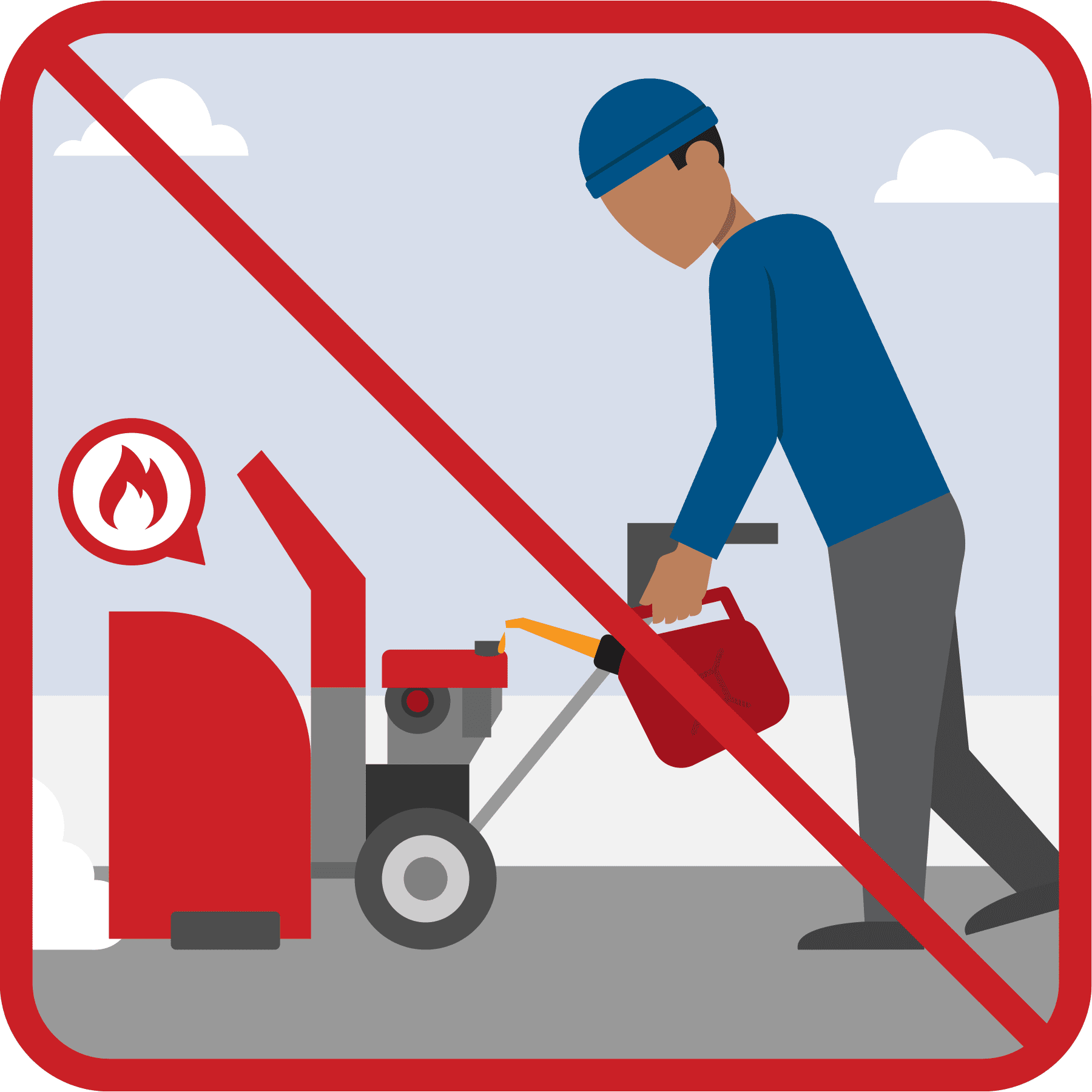 A man is fueling a hot snow blower. A red line is drawn across the illustration.