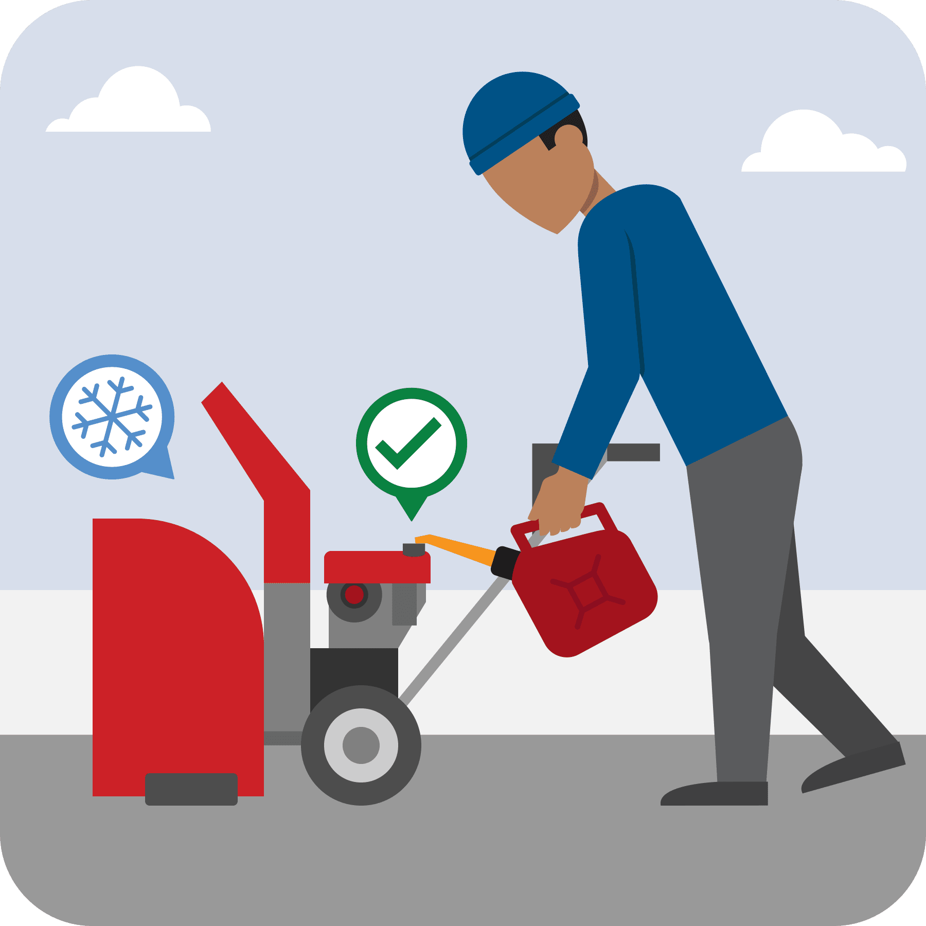 A man is fueling a cool snow blower. A green checkmark is over the snow blower.