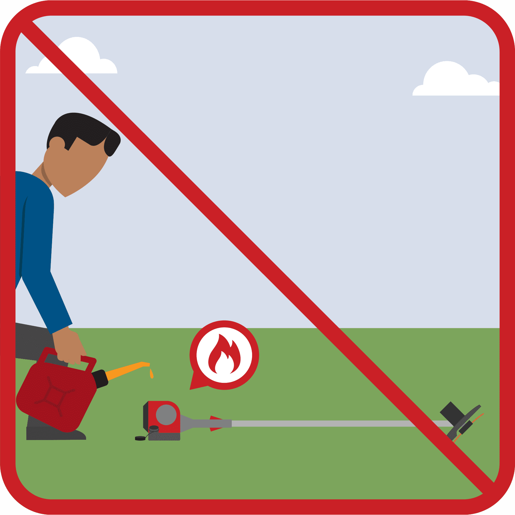 A man is fueling a hot weed trimmer. A red line is drawn across the illustration.