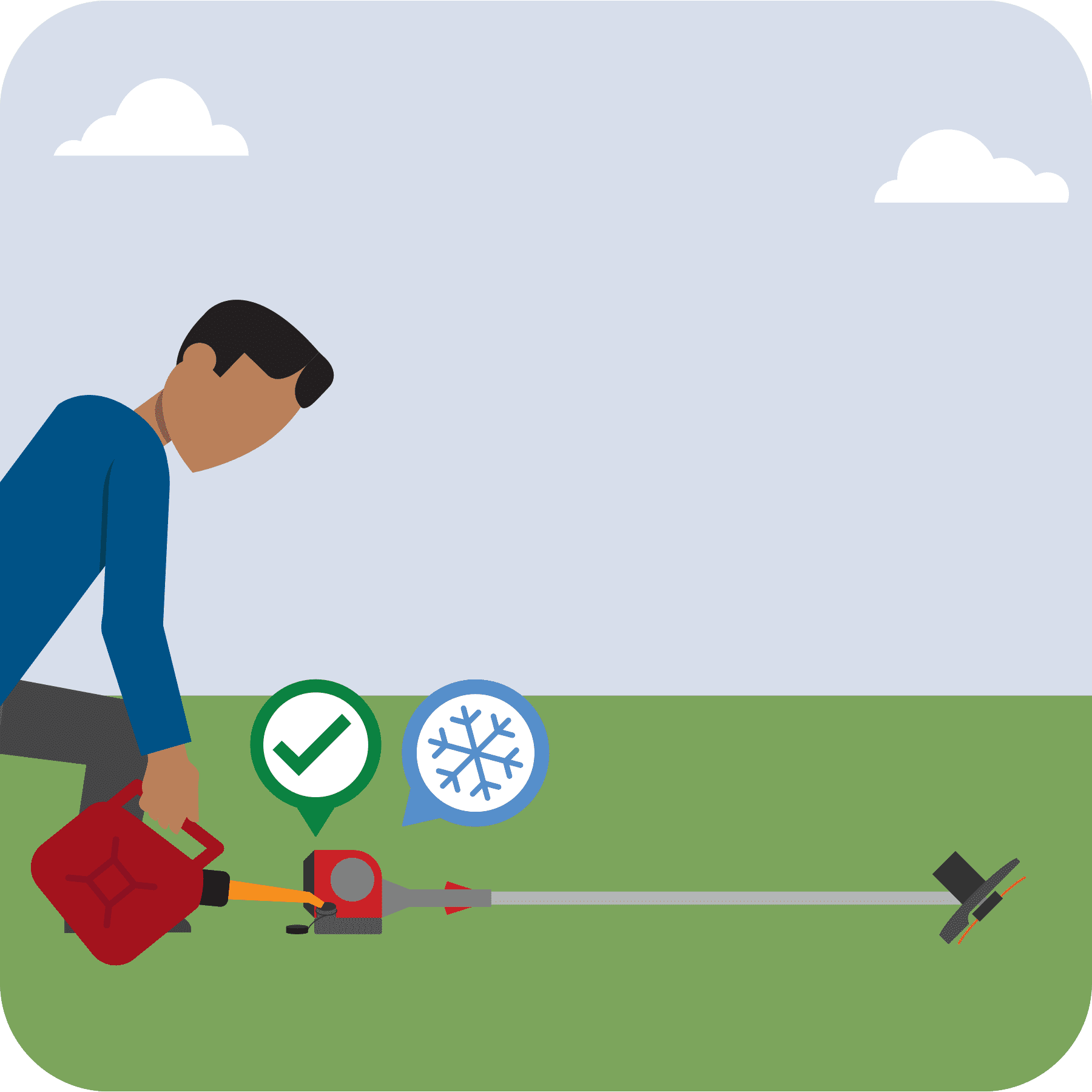 A man is fueling a cool weed trimmer. A green checkmark is over the trimmer.