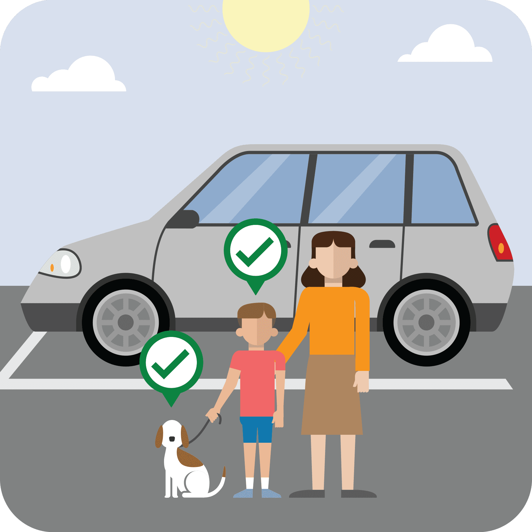 woman, boy and dog outside of a car