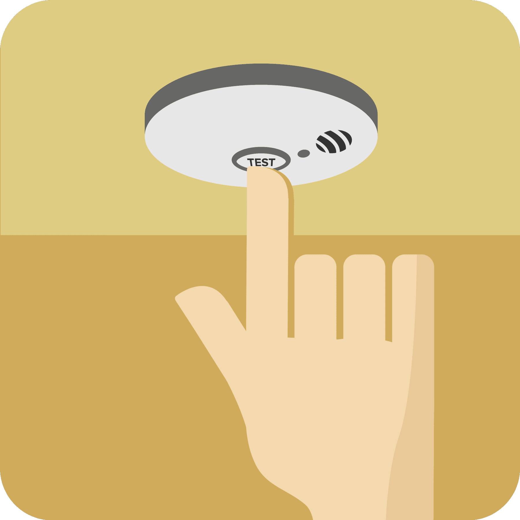 Hand pushing the test button on the smoke alarm.
