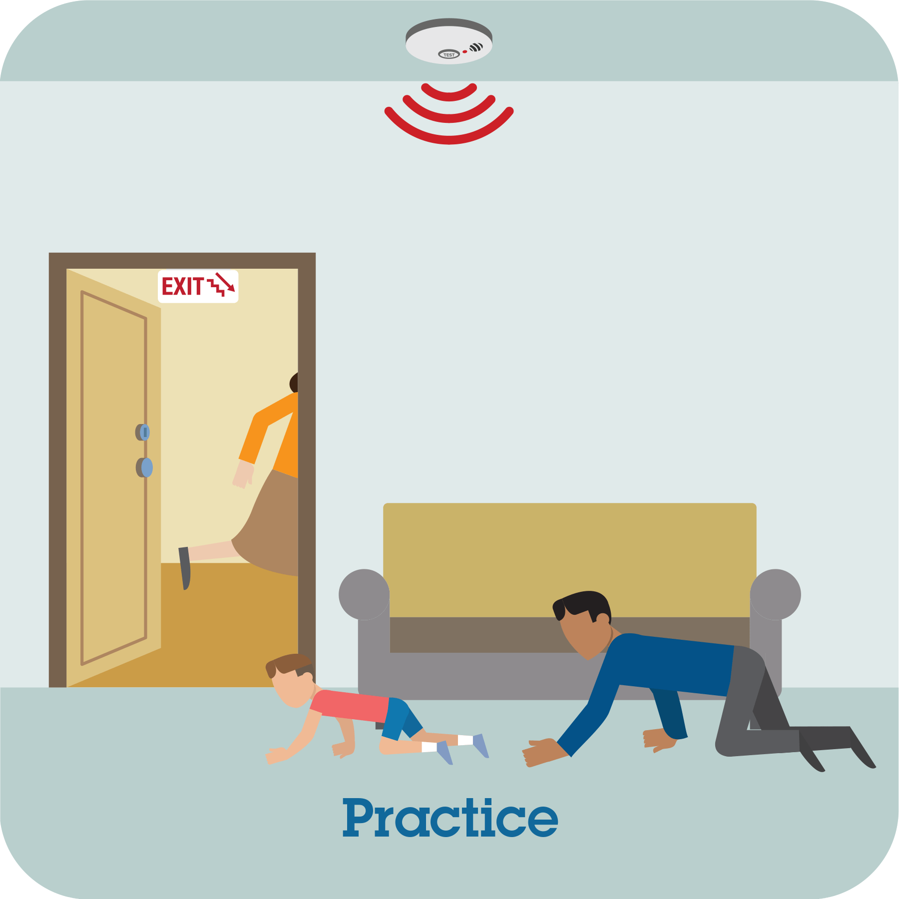 Alarm sounds and boy and man crawling on the floor with practice prompt.