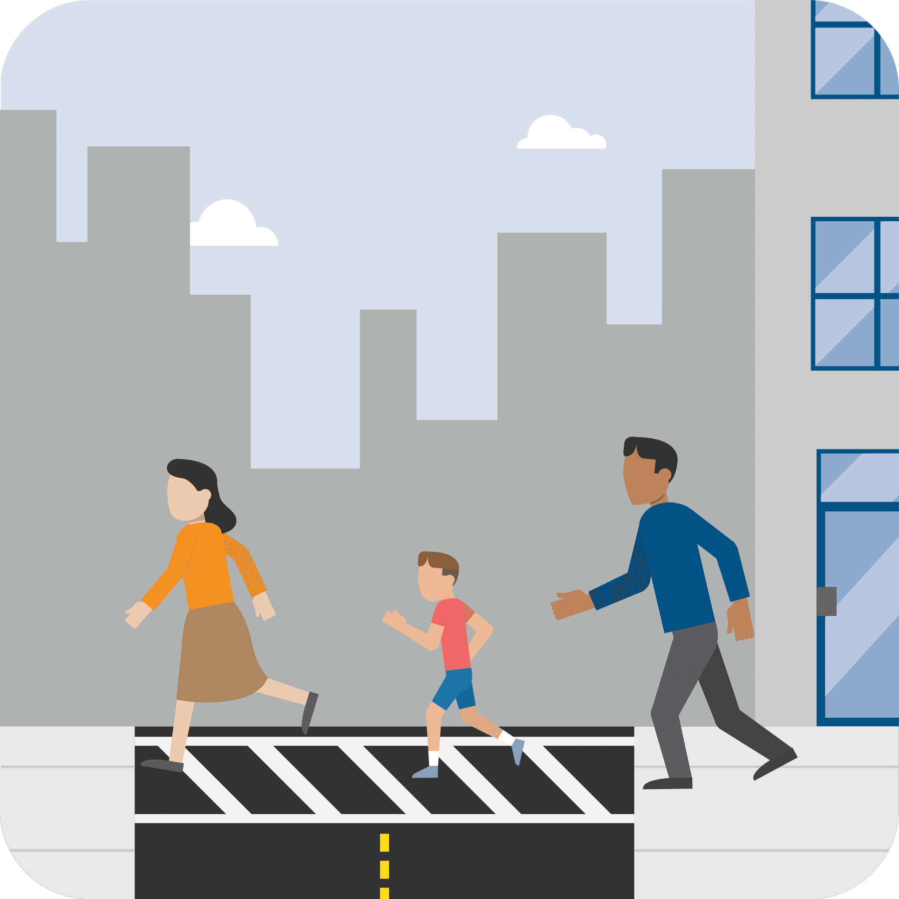 Family crossing the street to their safe meeting place.