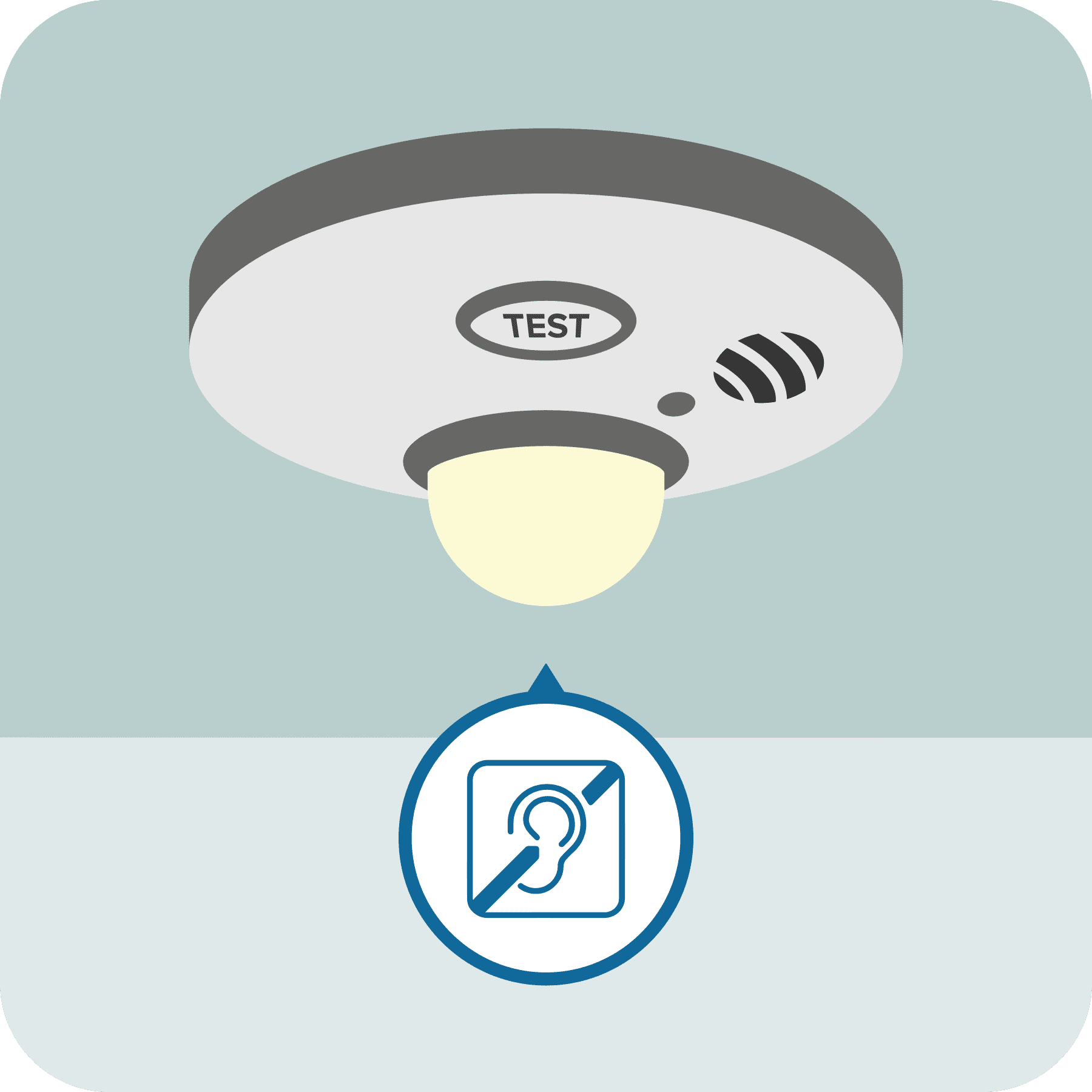 A close-up of the strobe light smoke alarm.