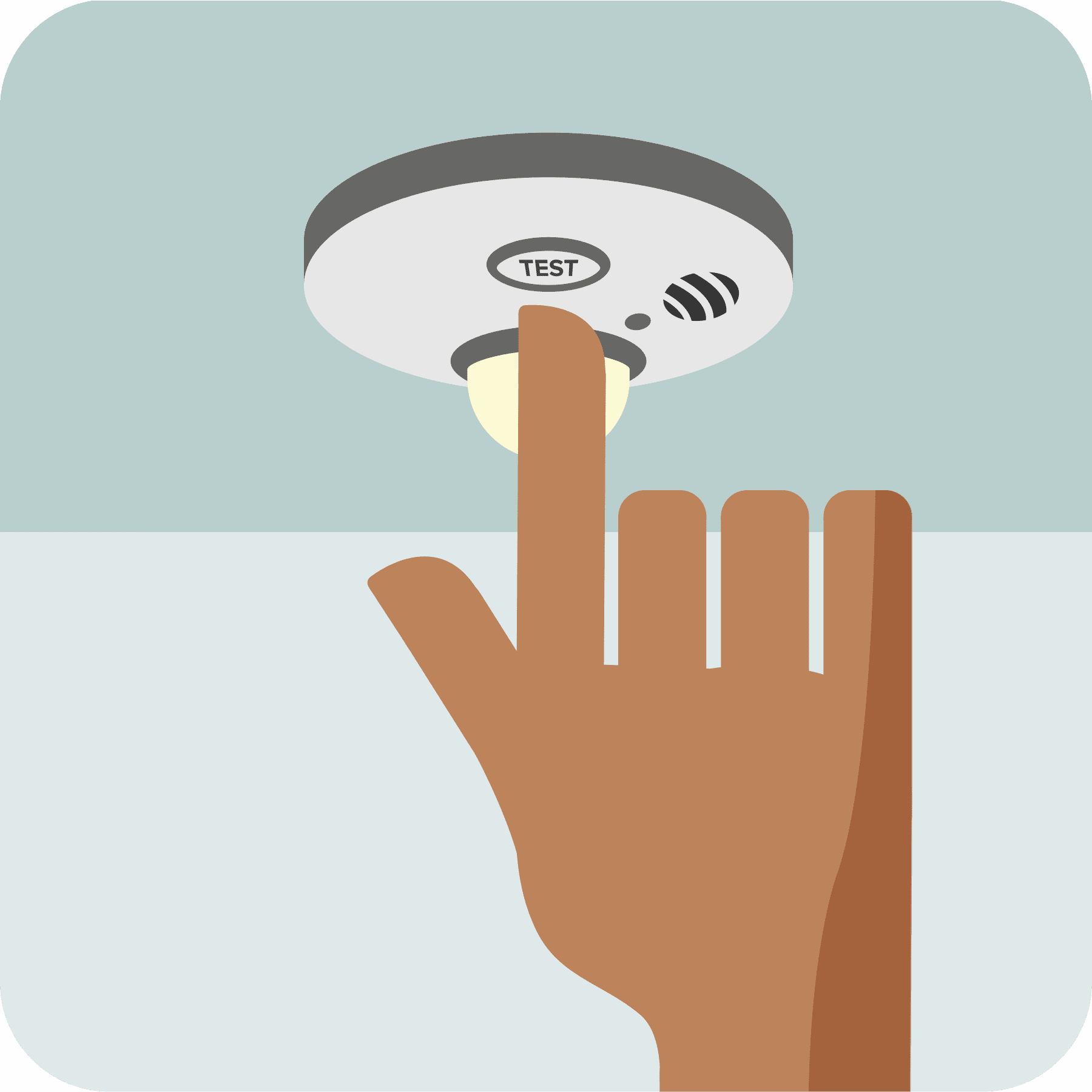 A man's hand pressing the test button on the strobe light smoke alarm.